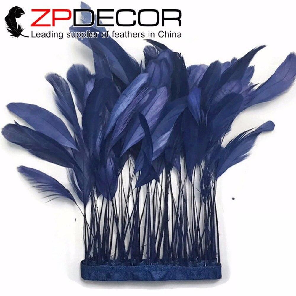 ZPDECOR 8-10 pulgadas (20-25 cm) 10 yardas/lote manualidades de alta calidad azul marino pluma de cola de gallo despojado DIY decoración de disfraces