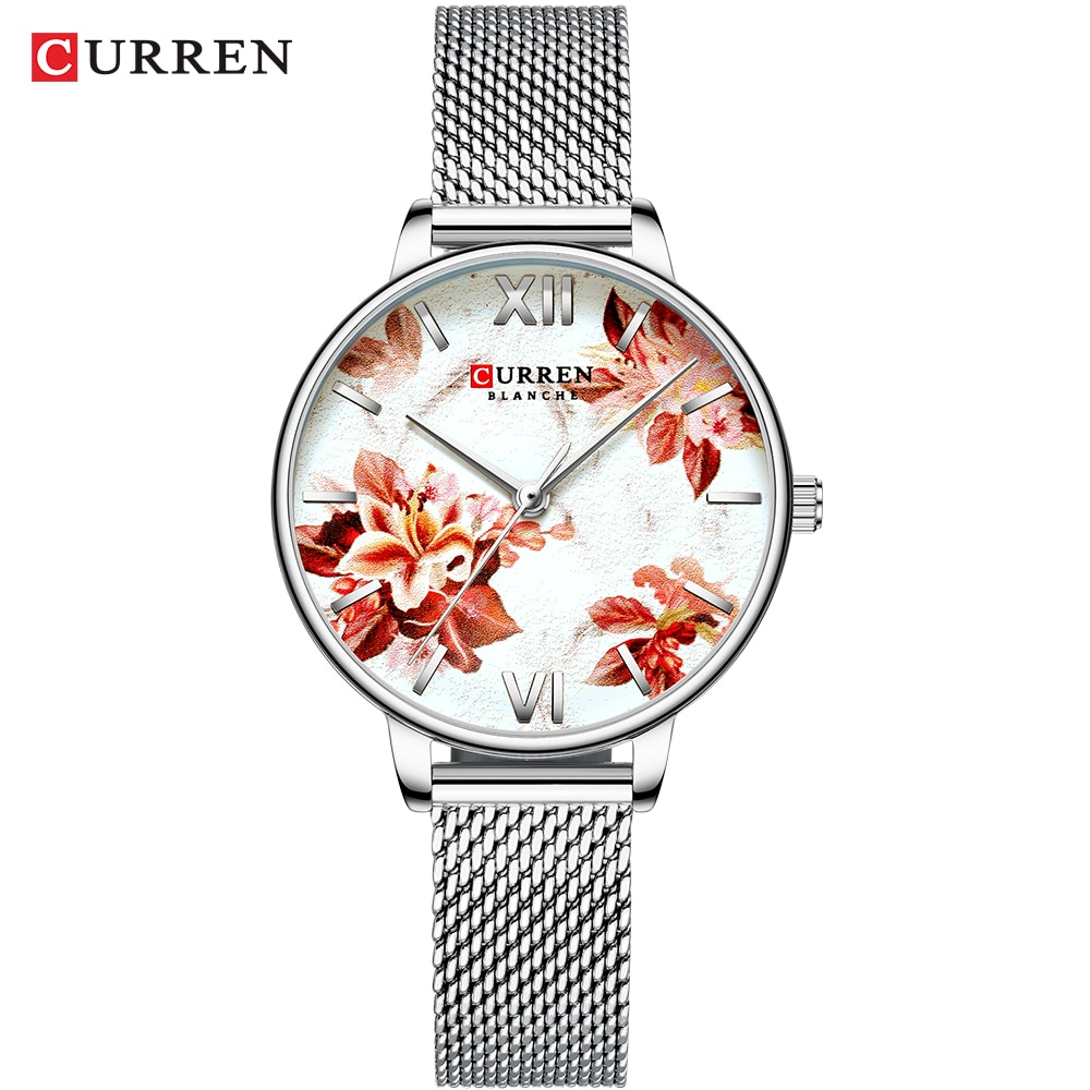 CURREN Ladies Quartz Wrist Watch Silver Slim Mesh Steel Belt Bracelet Relogio Feminino Quartz Casual Girls Analog Clock For Wife enlarge