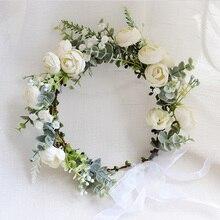 Couronne couronne de fleurs camélia   Accessoires de cheveux pour femmes, bandeau de Festival, coiffure, guirlande florale pour fille, couvre-chef pour mariage