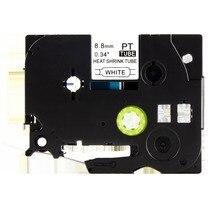 8.8mm x 1.5 m noir sur blanc compatible frère Hse221 thermorétractable tube étiquette ruban hse-221