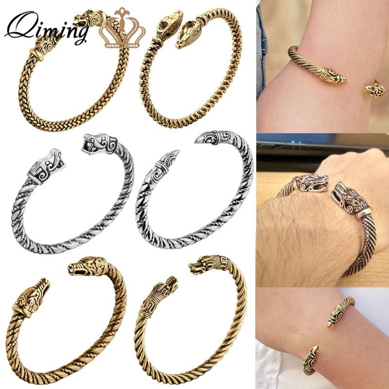 Pulsera de dragón QIMING, brazalete Vikingo, brazalete Fenrir, pulsera pagana para hombres, joyería de cabeza de Lobo eslavo, pulseras para mujeres, brazaletes de plata