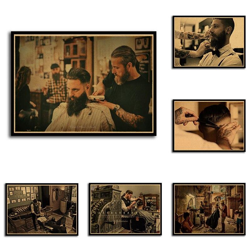 Los hombres peinado de tatuajes Vintage con estampado carteles Kraft papel de pintura Interior restaurar etiqueta de la pared de barbero tienda de decoración de