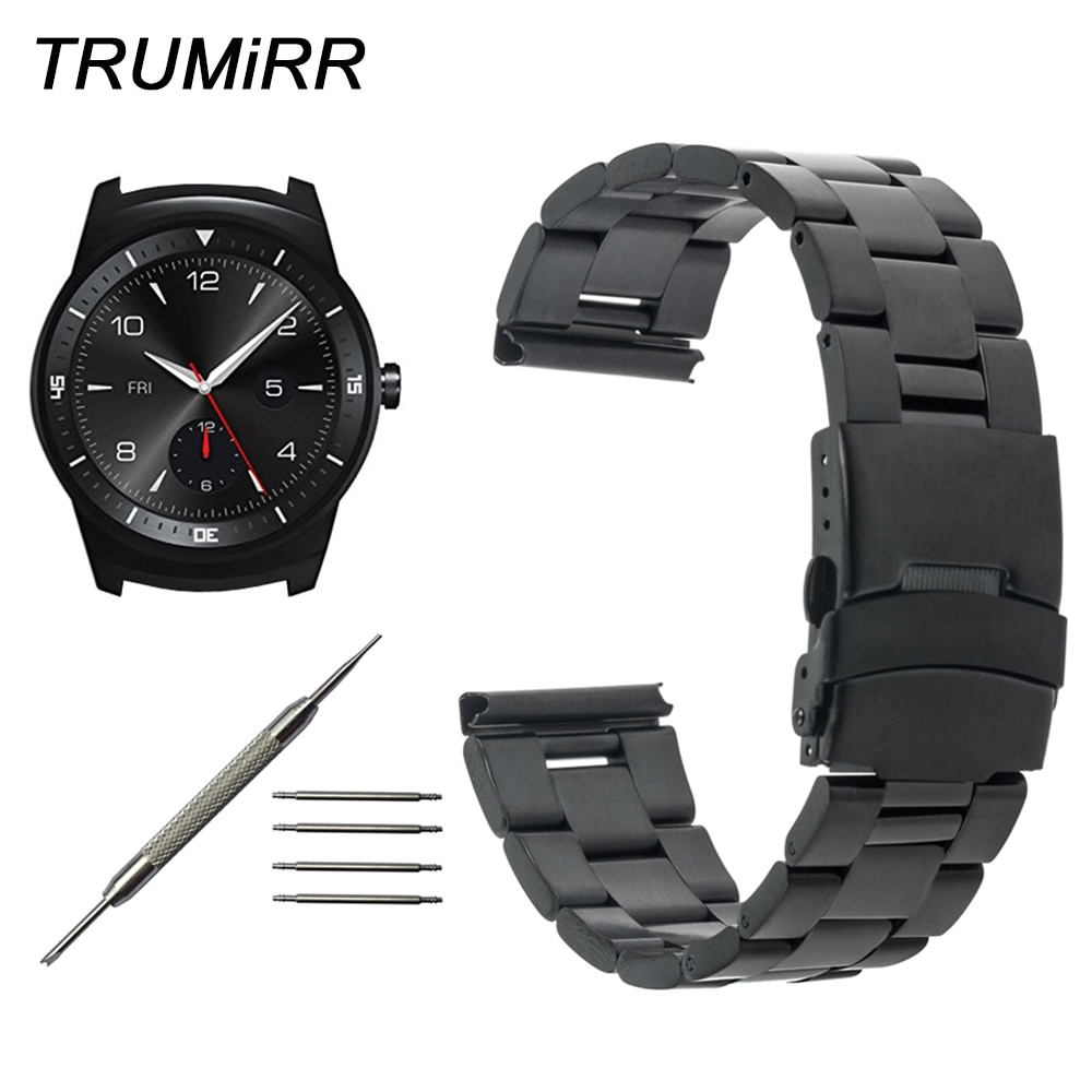 22mm Stainless Steel Watchband for LG G Watch W100 / R W110 / Urbane W150 Smartwatch Band Buckle Lock Strap Wrist Belt Bracelet