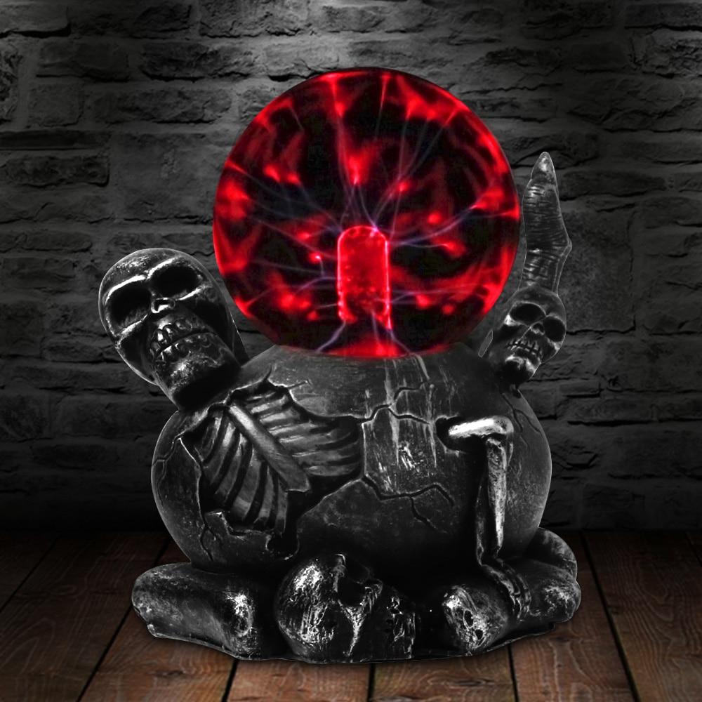 Lámpara de escritorio táctil de bola de Plasma con iluminación de calavera de miedo y garra negra iluminación decorativa estatua de figruina