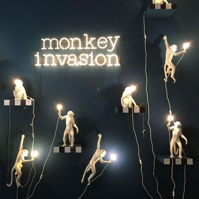 מודרני שחור איטליה SELETTI לאמפה קנבוס חבל תליון אורות בעלי החיים קוף Hanglamp סלון חדר ילדים חדר luminaire suspendu