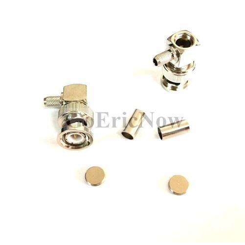 1 piezas BNC recto macho de crimpado de la RF conector para RG-58 adaptador