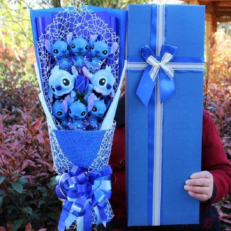 Cartoon Plush Toys Stitch Stuffed Animal Doll Bouquet For Graduation/birthday / Wedding / Christmas Day For Girls Decoration
