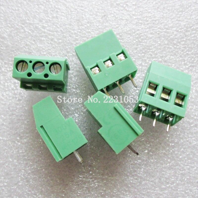 10 unids/lote terminales KF129-5.08-3P KF129-3P 300V 25A tornillo 3Pin recta de 5,08mm Pin PCB tornillo conector de bloque de terminales 24-12A WG