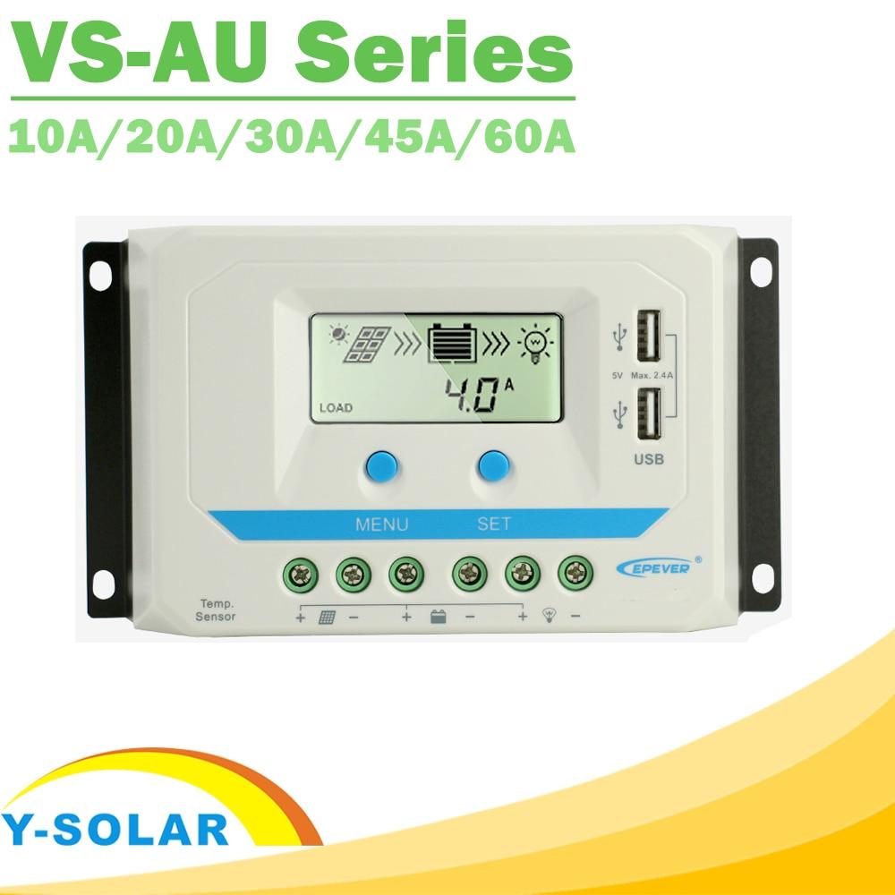 EPever PWM 10A/20A/30A/45A/60A الشمسية تهمة تحكم VS-AU سلسلة الخلفية LCD المزدوج USB PV شاحن منظم الشمسية المنزل