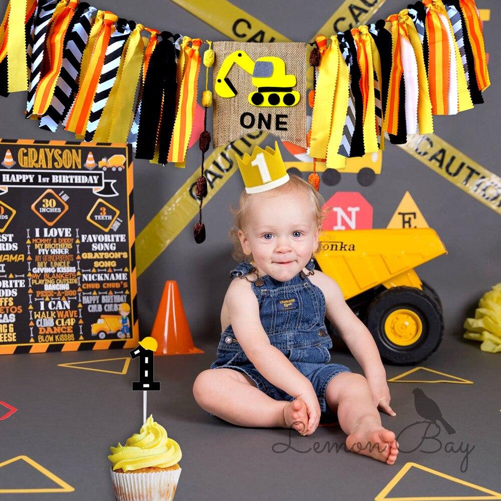 2019 kawaii padrão caminhão serapilheira bandeira/bandeira para o bebê festa de aniversário do menino decoração do partido suprimentos tablewares um ano penant decoração