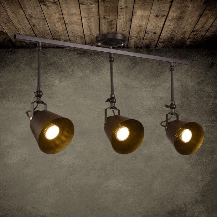 Vintage Loft luz de techo 1/2/3/4 cabeza creativa Loft pista lámpara tienda de telas luz para Café Bar envío gratis
