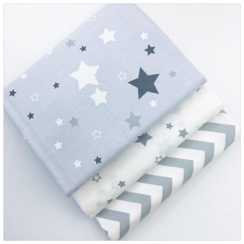 Onda cinza Estrelas Impresso Tecido De Algodão para Decoração de Costura Diy Almofadas Patchwork Têxtil E Artesanato Quilting Tecido Da Cama