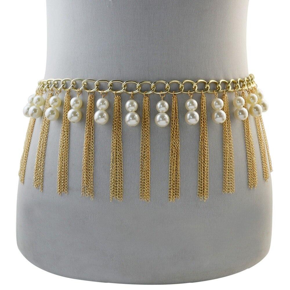Indian Beach Women Gypsy Gold Metal Belly Dance Body Sexy Bikini Pearl Long Tassel Dress Belt Waist Chain Turkish Jewelry