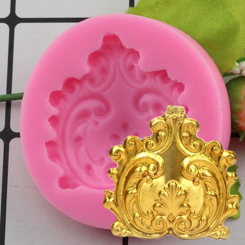 Barroco Elegante Florescer Medalhão Queque Molde de Silicone Bolo Fondant Ferramentas de Decoração de Doces Resina Argila Chocolate Molde Gumpaste
