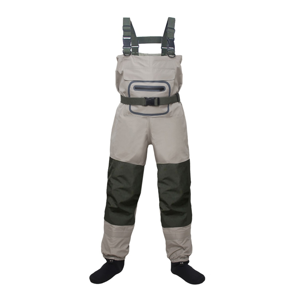 high jump ultra thin 0 34mm siamese fishing waders waterproof 700d nylon pvc breathable chest height pocket belt fishing overall Lightweight Breathable Stockingfoot Fishing Wader Fly Fishing Chest Waders Pant for Men and Women