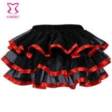 M XL XXL grande taille volants couches jupon jupes adulte ruban rouge garniture noir Organza Sexy Punk Tutu jupe femmes jupons