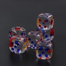 6 pièces/ensemble 20mm rouge bleu jaune Point #20 grand Transparent dés Bar hôtel cristal dés
