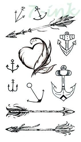 Tatuaje temporal a prueba de agua pegatina flecha ancla pluma tatuaje falso Flash tatuaje mano parte trasera del pie para chica mujeres hombres niños