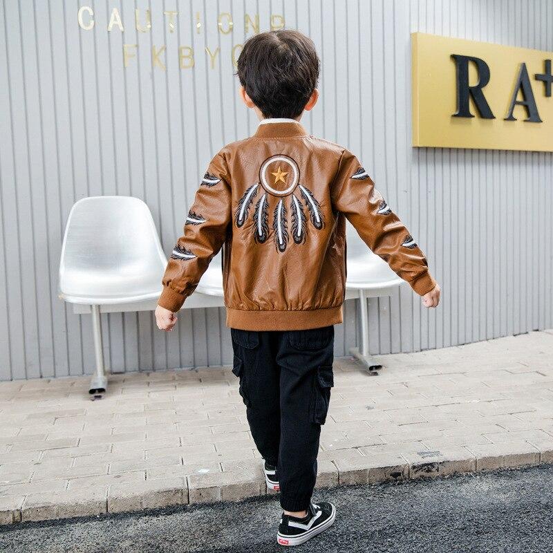 3 piezas WLG niños ropa niños khaki negro PU chaqueta camisa y pantalón ropa conjunto bebé ropa de moda niños