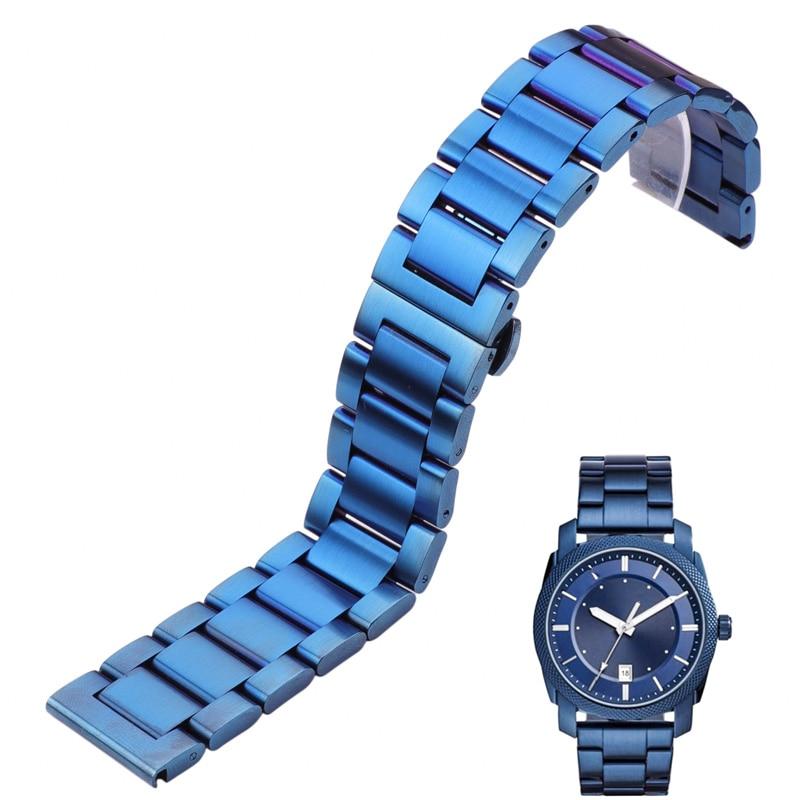 Correa de reloj, pulsera de acero inoxidable 316l, azul, plateado, para hombres y mujeres, correa de Metal, eslabones rectos 18 20 21 22mm 23mm 24mm