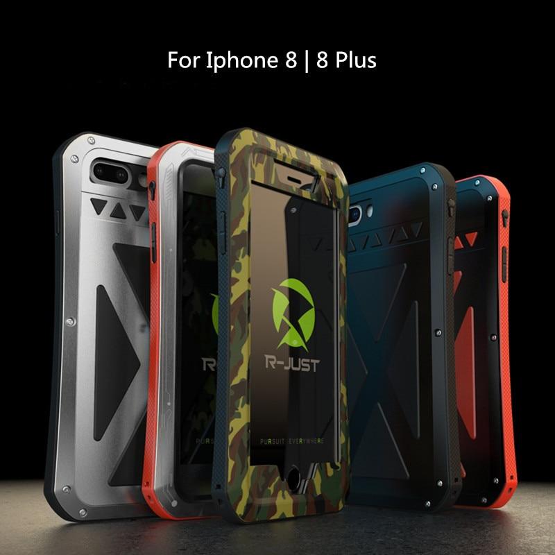 Funda de teléfono x-man Metel para i7 8 8 Plus, protección de 360 grados, carcasa de teléfono con vidrio templado contra salpicaduras de agua