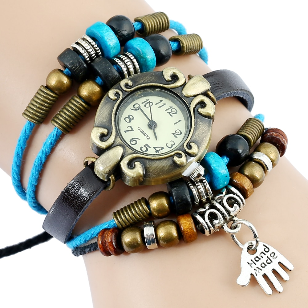 Gnova, reloj de paracord de platino, pulsera hecha a mano para mujer, reloj de pulsera de moda coreano, reloj de cuarzo étnico Vintage