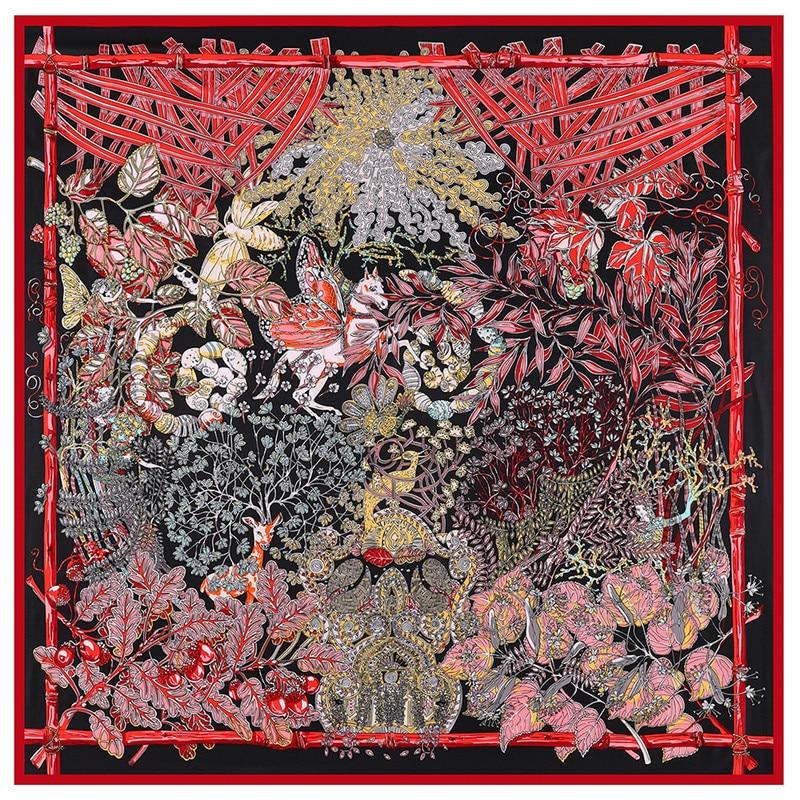 Luxury Brand Scarf 130cm Forest Animal Garden Print Twill 100% Silk Scarf Women Shawl Square Scarves Kerchief For Ladies Echarpe