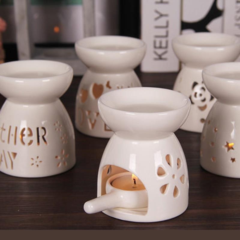 Mini quemador de Aroma de cerámica lámpara de aceite esencial hueco portavelas aromaterapia de incienso candelabro decoración hogar