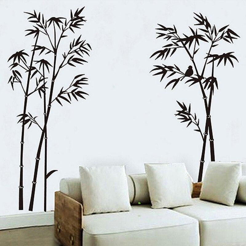 Adhesivos para pared de bambú negros para decoración del hogar accesorios de decoración de dormitorio Mural de PVC calcomanías autoadhesivas DIY