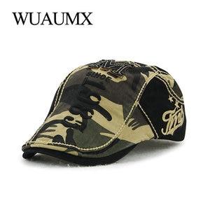 Wuaumx Brand Retro Camouflage Beret Hats For Men Women Summer Cotton Visor Casual Peaked Flat Cap Hip Hop Locking Duckbill Hat