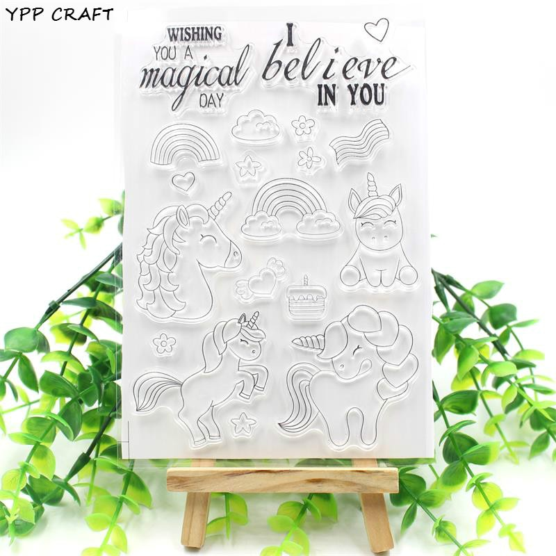 YPP CRAFT unicornios mágicos sellos de silicona transparente para DIY Scrapbooking/fabricación de tarjetas/niños divertidos suministros de decoración 201