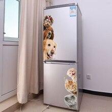 Hunde Katzen 3D Wand Aufkleber Lustige Tür Fenster Kleiderschrank Kühlschrank Dekorationen für Kinder Zimmer Home Decor Cartoon Tier Kunst Vinyl aufkleber