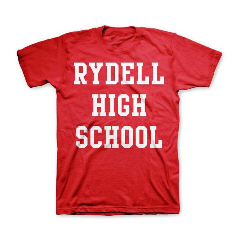 T-shirts de algodão de manga curta para as mulheres camiseta de algodão retro rydell high school t