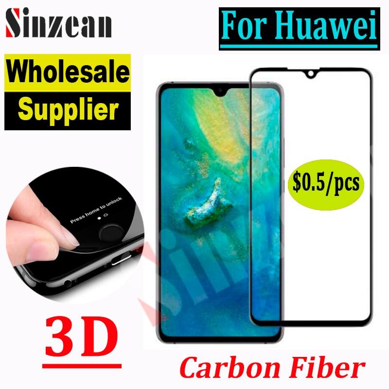 50 قطعة لهاتف Huawei Mate 10 Pro/P10 Plus/Honor Play/Honor 10 lite 3D غطاء كامل ناعم من ألياف الكربون والزجاج المقسى