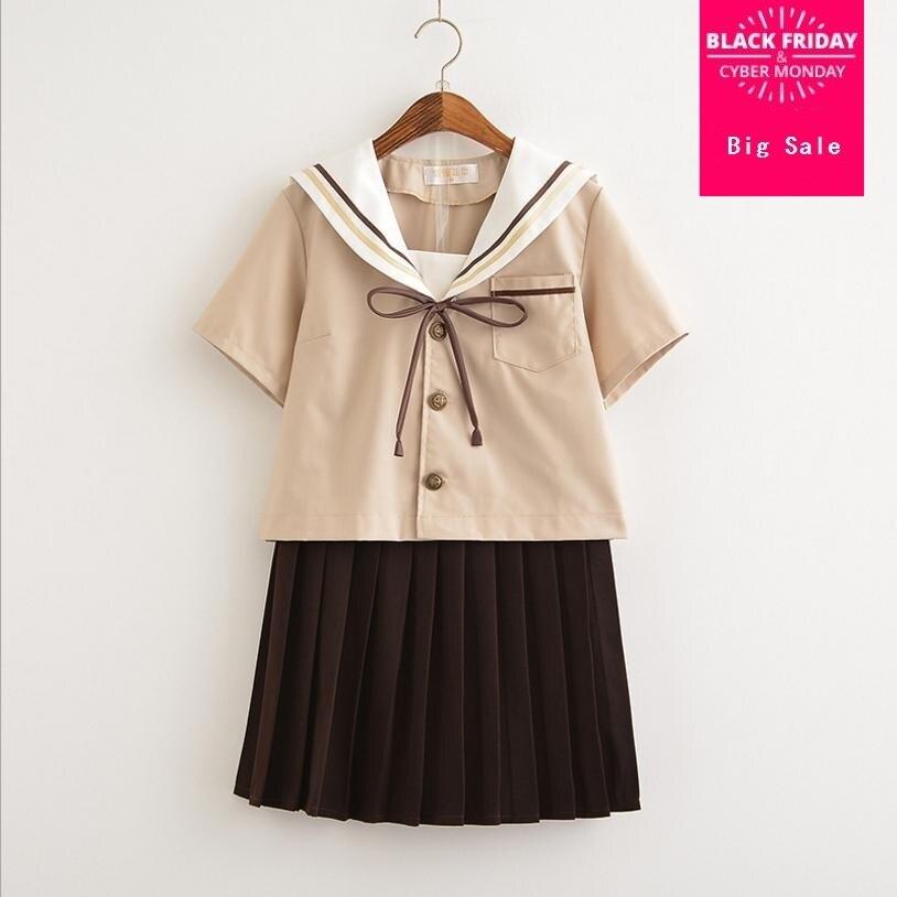 Japanese style Sailor suit cute sets 2018 summer new college style school uniform soft sister jk uniform Pleated skirt suit L502