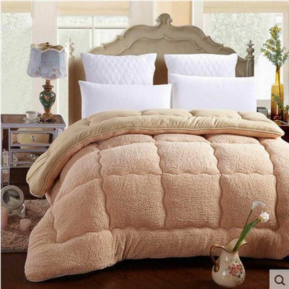 طقم أغطية سرير من الكشمير المخملي ، لحاف سميك ، صوف ، صوف ، دافئ ، لفصل الشتاء