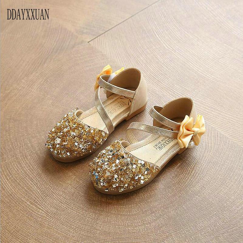 2018 nuevas sandalias brillantes de moda para niños, zapatos brillantes con lentejuelas para niñas, primavera Otoño, zapatos para fiesta de Baile de Princesa, zapatos EU 21-36