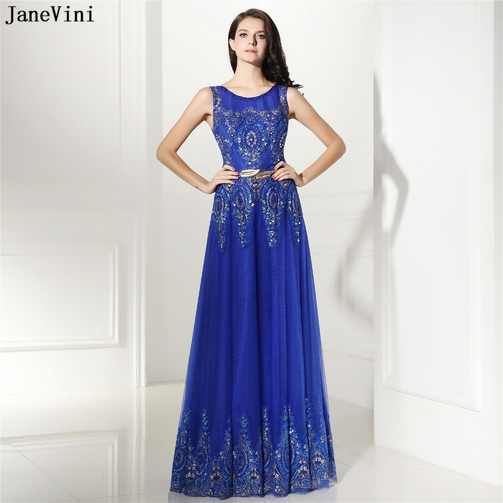 JaneVini-vestidos de dama de honor largos azul real, cuello redondo, lentejuelas, cuentas,...
