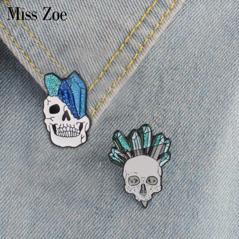 Calavera de Cristal esmalte pin Punk esqueleto ore broches regalo para amigos moda insignia genial con solapas y botones pantalones vaqueros con joyería cap bag