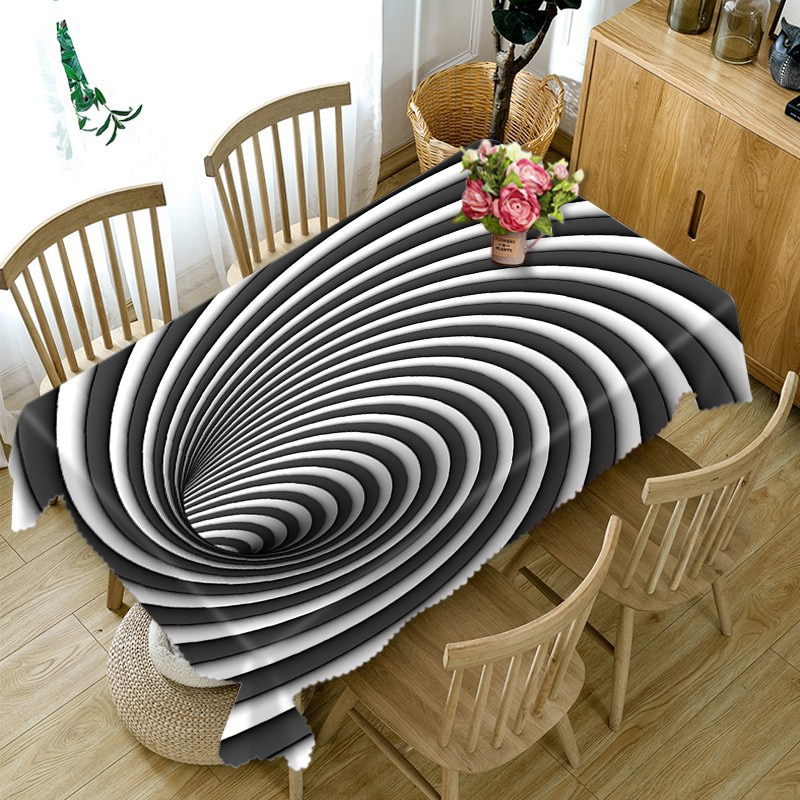 Neue Polyester Baumwolle 3D Tischdecke Schwarz Weiß Streifen Muster Staubdicht Esstisch Tuch Hochzeit Dekoration Tisch Abdeckung