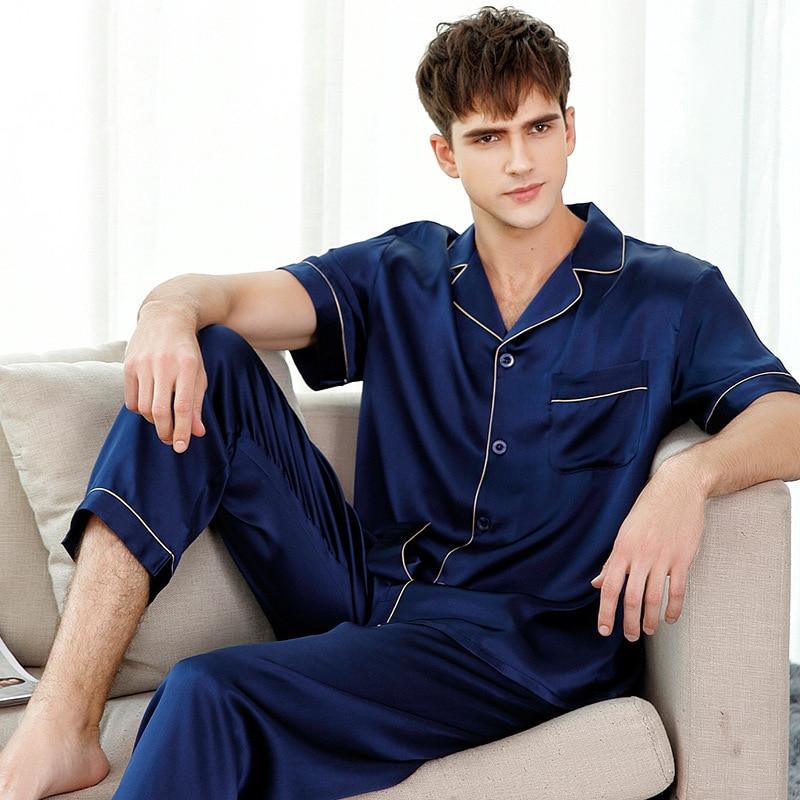 Натуральный шелк пижамы однотонный цветной мужской% 27 с коротким рукавом из двух частей 100% 25 шелкопряд шелк одежда для сна мужской пижама комплекты T9001