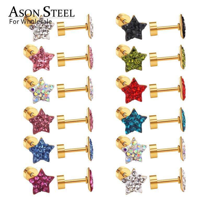 Asonsteel por atacado parafuso de volta brincos de cor múltipla estrela brinco de volta lado é de aço inoxidável brincos de alta qualidade