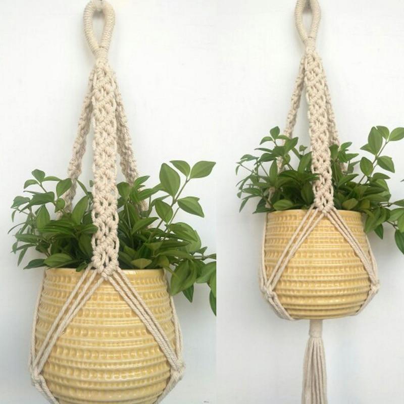 1pc Vintage Jute Rope Braided Pot Holder Macrame Plant Hanger Hanging Planter Basket Rope 78cm Mayitr