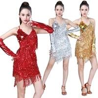 sequins latin dance costume women shiny party dress gowns rhythm ballroom samba rumba tango stage adult fringe latin dance dress