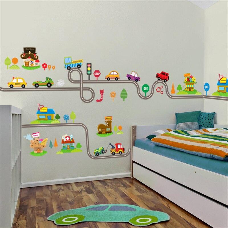 3D, pegatinas de decoración de pared rota vívida para dormitorio de niños, habitación de niños, póster de coche, pegatinas de pared para Mural