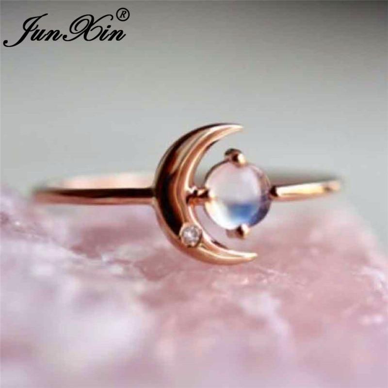 JUNXIN mignon lune anneaux pour femmes or métal rond pierre de lune anneau femelle empilable mince éternité anneau de mariage bandes bijoux