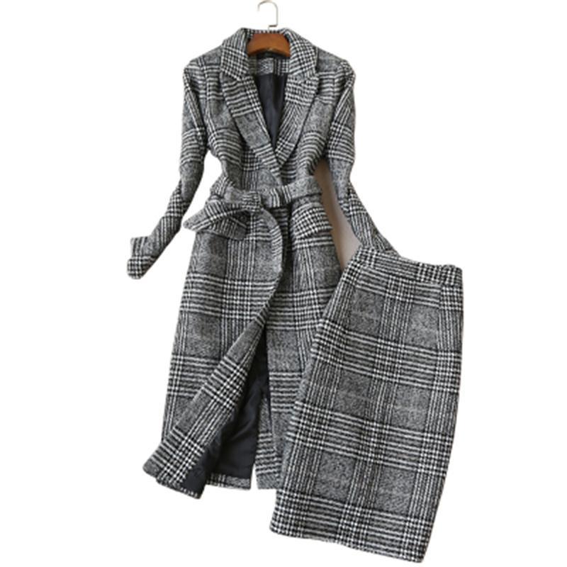 Traje a cuadros para mujer, otoño e invierno, nuevo a cuadros, chaqueta de lana de Tweed para mujer, traje de abrigo a cuadros + traje de dos piezas para mujer