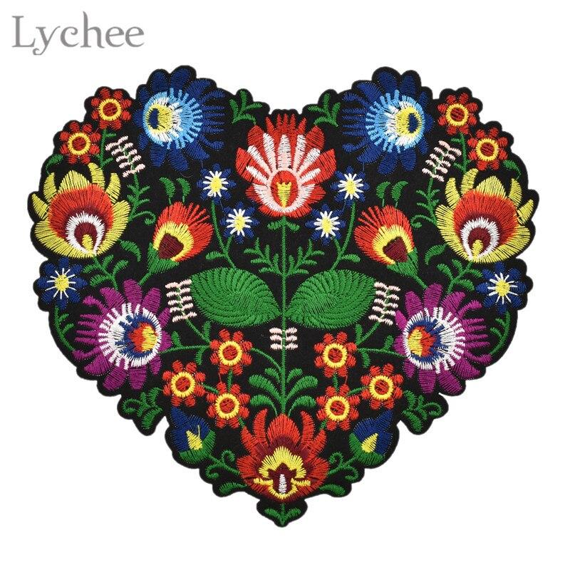 Lychee flor con forma de corazón bordado apliques parches para ropa hierro en parche apliques para DIY ropa chaquetas costura artesanía