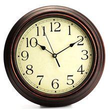 Horloge murale ronde classique de 12 pouces   Horloge murale rétro à Quartz Non scintillant, décorative