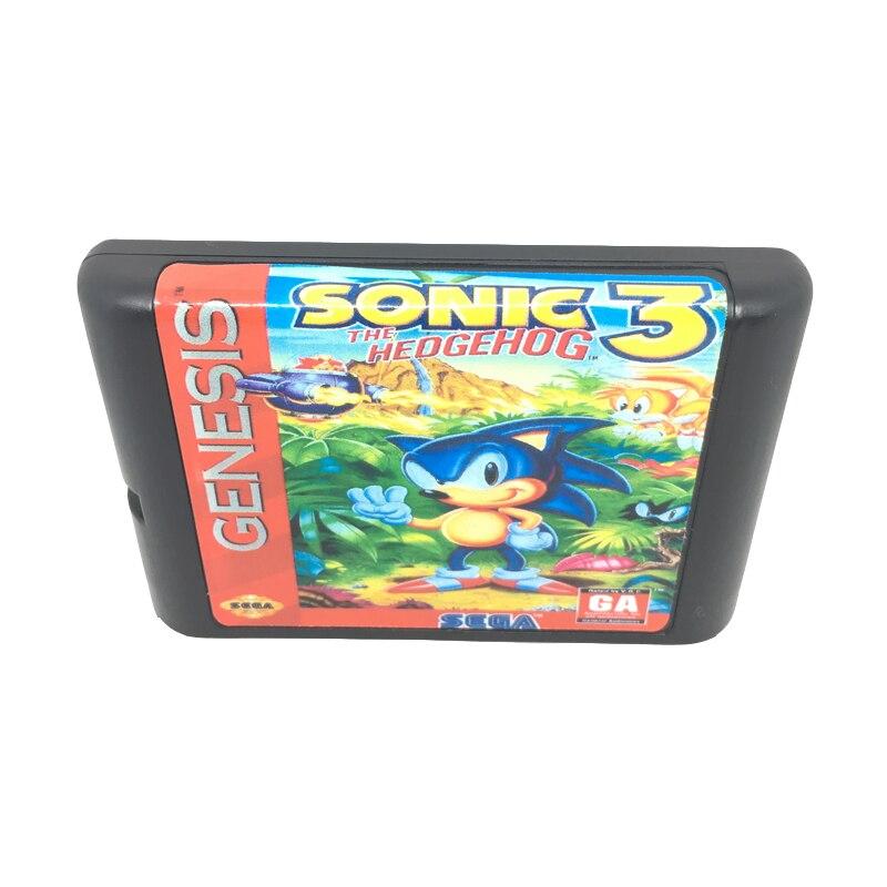 Sonic зубная щётка 3 16 бит для карточная игра картридж для sega Mega Drive/Genesis Системы EUR/США оболочки